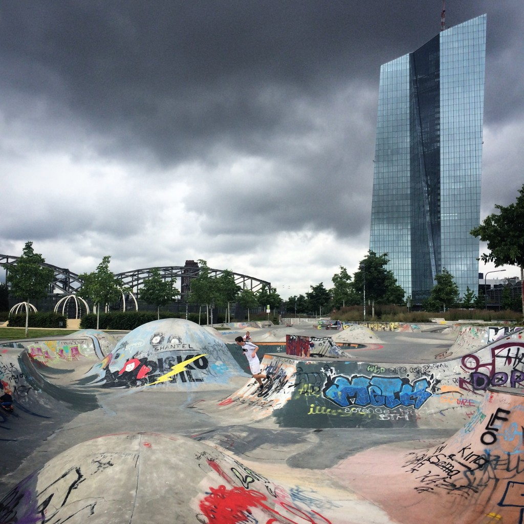 The day after Brexit. A lonely German in the middle of an empty skate park. Background: ECB.